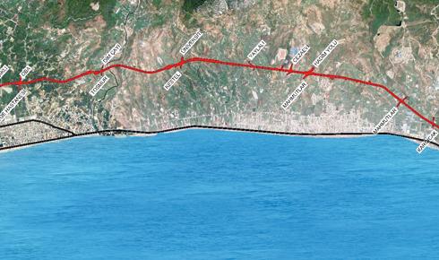 Махмутлар, новая объездная дорога, карта